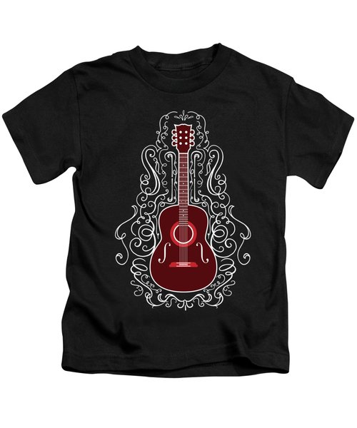 Acoustic Guitar With Scroll Design Kids T-Shirt