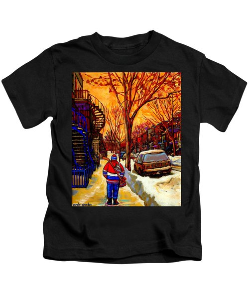 After The Hockey Game A Winter Walk At Sundown Montreal City Scene Painting  By Carole Spandau Kids T-Shirt