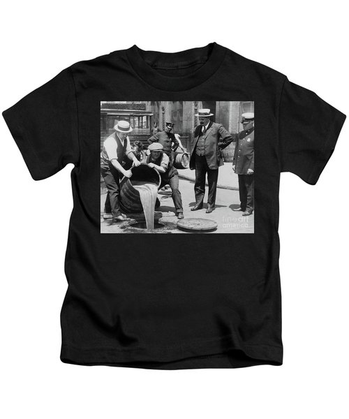 Agents Pouring Alcohol Down A Sewer During Prohibition Era Kids T-Shirt