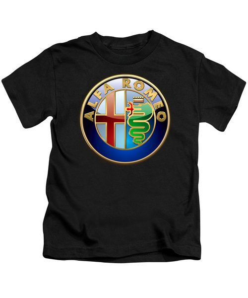 Alfa Romeo - 3 D Badge On Black Kids T-Shirt