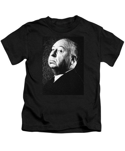 Alfred Hitchcock Kids T-Shirt by Taylan Apukovska
