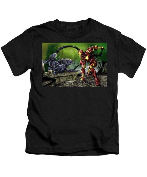 Alien Vs Iron Man Kids T-Shirt