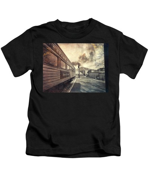 Kids T-Shirt featuring the photograph All Aboard by Chris Montcalmo
