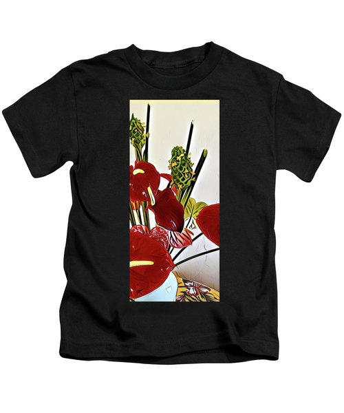 Aloha Bouquet Of The Day - Anthuriums In Darkl Red With Green Ginger - A Portion Kids T-Shirt