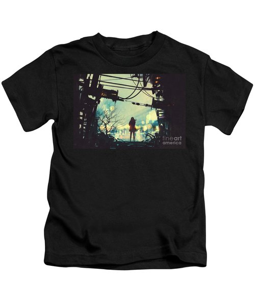 Alone In The Abandoned Town#2 Kids T-Shirt