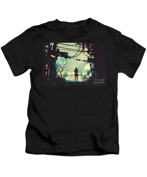 Kids T-Shirt featuring the painting Alone In The Abandoned Town#2 by Tithi Luadthong