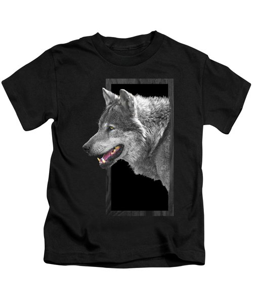 Alpha Male Wolf - You Look Tasty Kids T-Shirt by Gill Billington