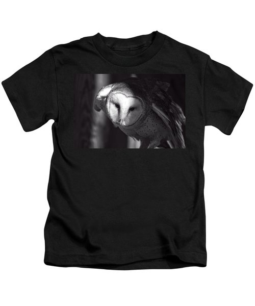 American Barn Owl Monochrome Kids T-Shirt