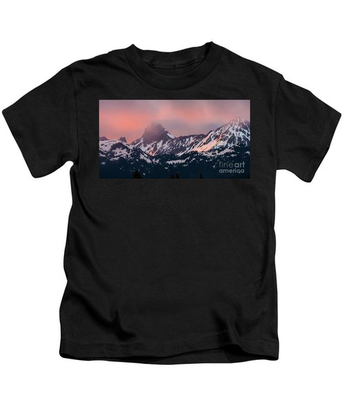 American Border Peak And Mount Larrabee At Sunset Kids T-Shirt