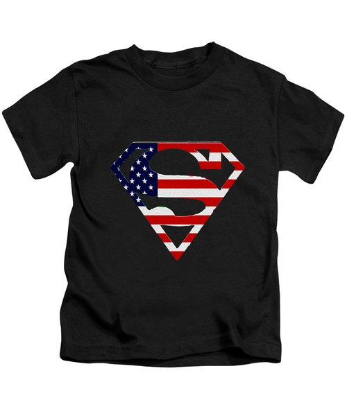 American Flag Superman Shield Kids T-Shirt