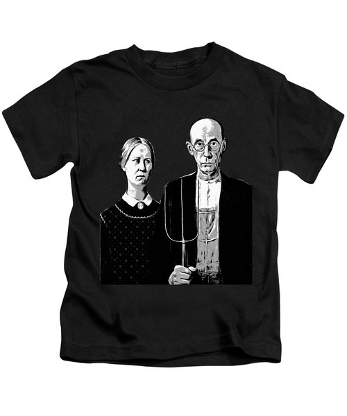 Kids T-Shirt featuring the digital art American Gothic Graphic Grant Wood Black White Tee by Edward Fielding