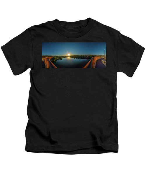 American River At Sunrise - Panorama Kids T-Shirt