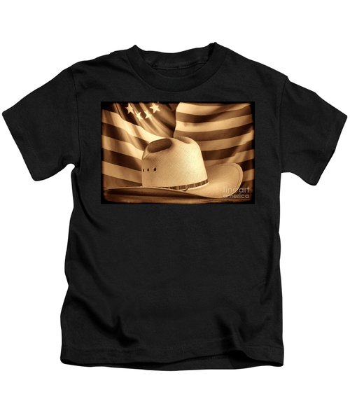 American Rodeo Cowboy Hat Kids T-Shirt