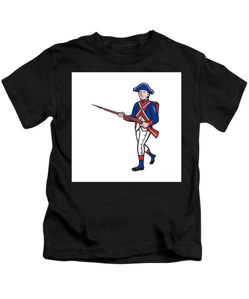 American Soldier Marching Rifle Cartoon Kids T-Shirt