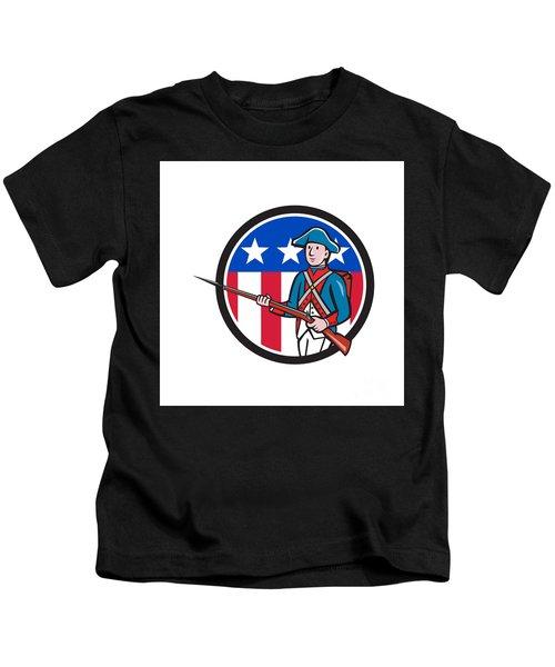 American Soldier Marching Rifle Usa Flag Circle Cartoon Kids T-Shirt