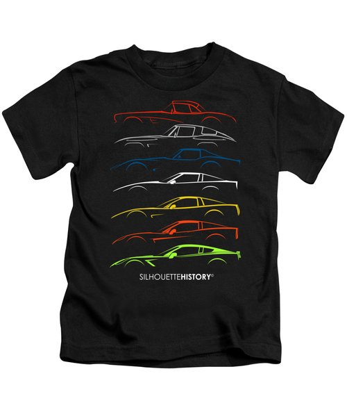 American Sports Car Silhouettehistory Kids T-Shirt