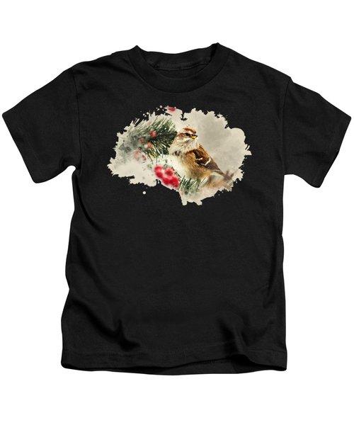 American Tree Sparrow Watercolor Art Kids T-Shirt