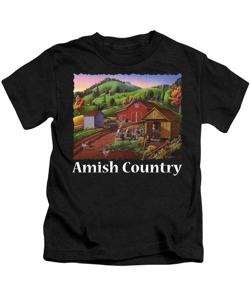 Amish Country T Shirt - Farmers Shucking Corn Country Farm Landscape - Corncrib - Corn Crib Kids T-Shirt