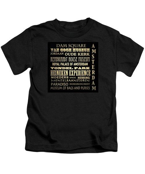 Amsterdam Famous Landmarks Kids T-Shirt