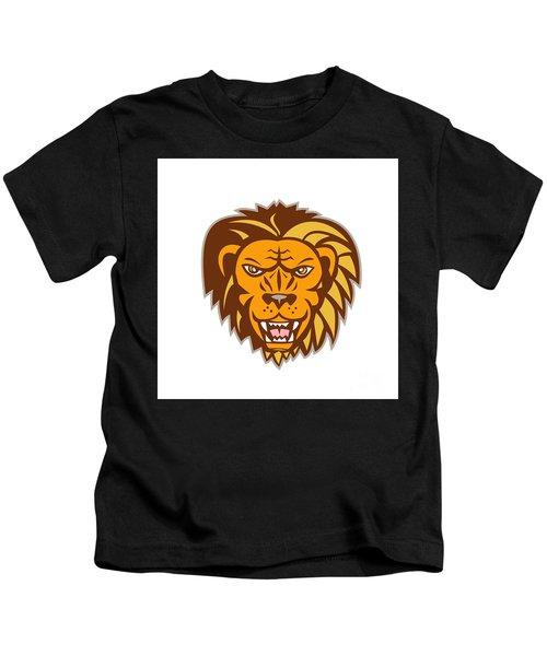 Angry Lion Big Cat Growling Head Retro Kids T-Shirt