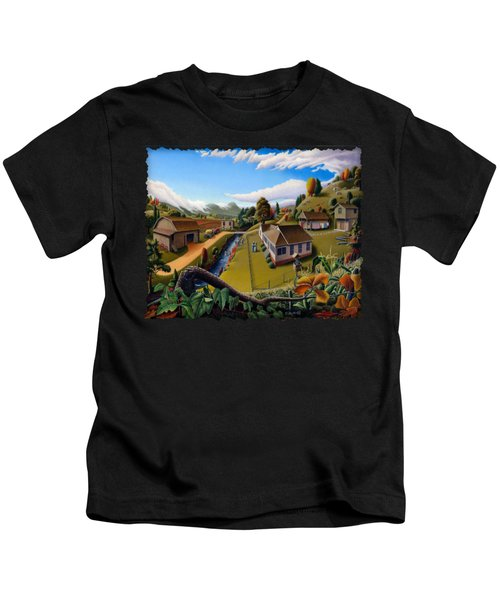 Appalachia Summer Farming Landscape - Appalachian Country Farm Life Scene - Rural Americana Kids T-Shirt