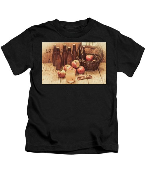 Apples Cider By Wicker Basket On Wooden Table Kids T-Shirt