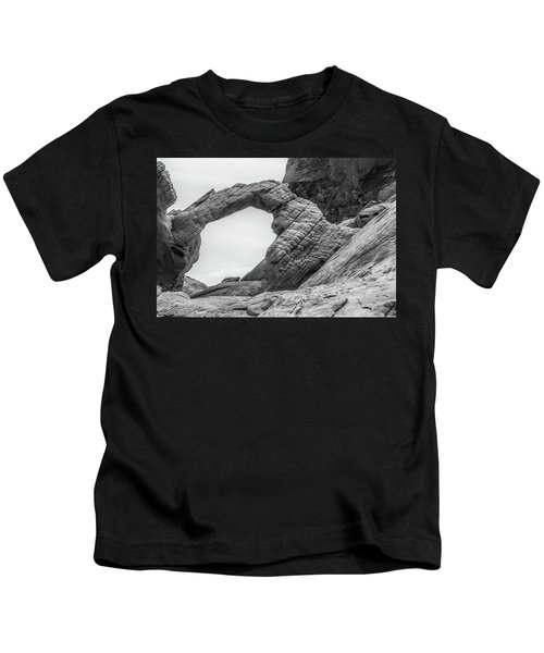 Arch Rock Black And White Kids T-Shirt