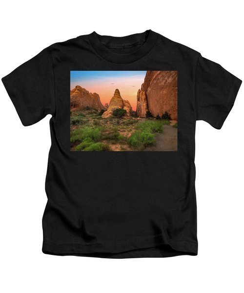 Arches National Park Sunset Kids T-Shirt