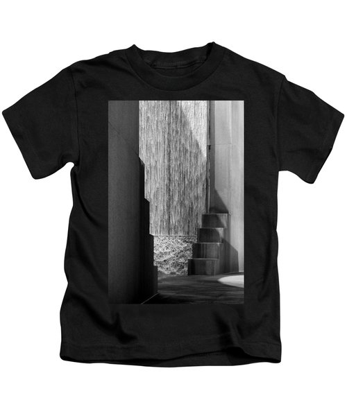 Architectural Waterfall In Black And White Kids T-Shirt