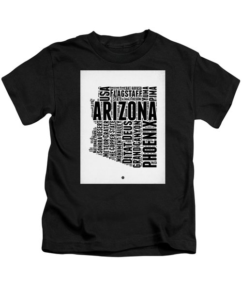 Arizona Word Cloud Map 2 Kids T-Shirt by Naxart Studio