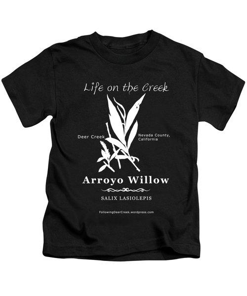 Arroyo Willow - White Text Kids T-Shirt