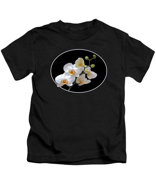 White Orchids On Black Kids T-Shirt