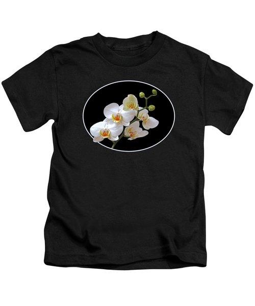 White Orchids On Black Kids T-Shirt