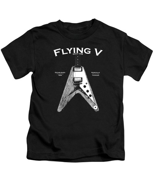 Gibson Flying V Kids T-Shirt by Mark Rogan