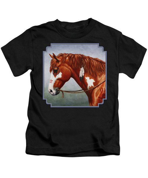 Native American War Horse Kids T-Shirt by Crista Forest