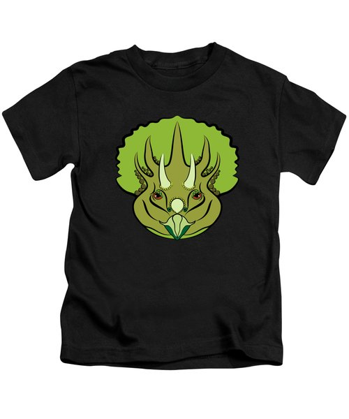 Triceratops Graphic Green Kids T-Shirt