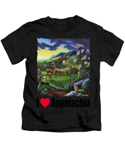 I Love Appalachia - Deer Chipmunk High Meadow Appalachian Landscape 1 Kids T-Shirt