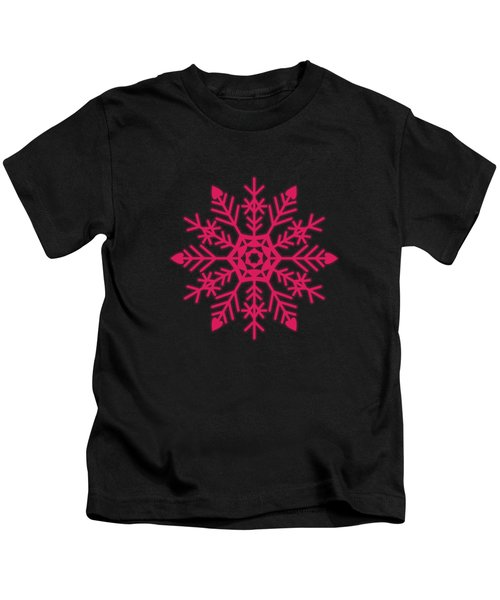 Snowflakes Rubine Red And White Kids T-Shirt