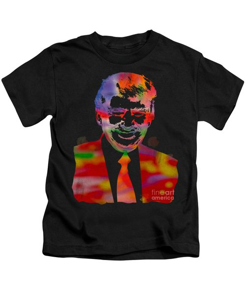 The Donald Trump Watercolor Portrait On Distressed Canvas Kids T-Shirt