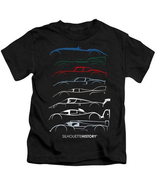 24 Hours Race Cars Silhouettehistory Kids T-Shirt