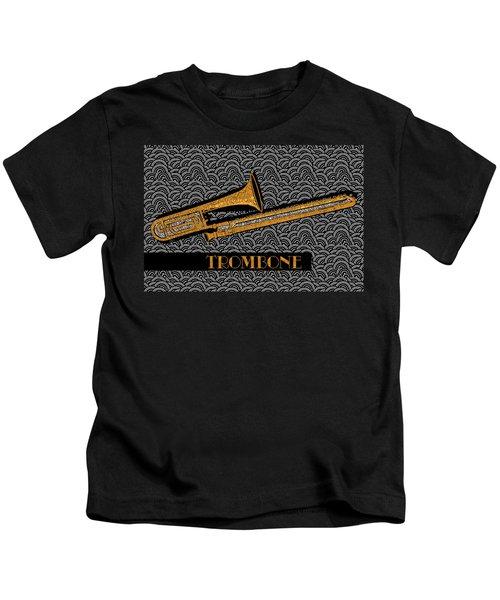 Trombone Tunes Kids T-Shirt by Cecely Bloom