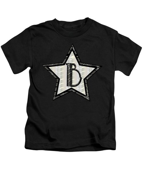 Star Of The Show Art Deco Style Letter B Kids T-Shirt by Cecely Bloom