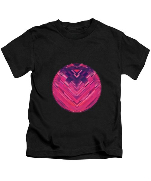 Modern Red Black Stripe Abstract Stream Lines Texture Design Symmetric Edition Kids T-Shirt