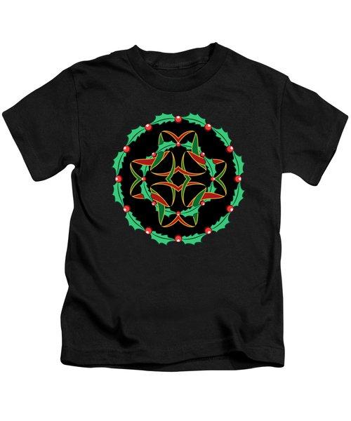 Celtic Christmas Holly Wreath Kids T-Shirt