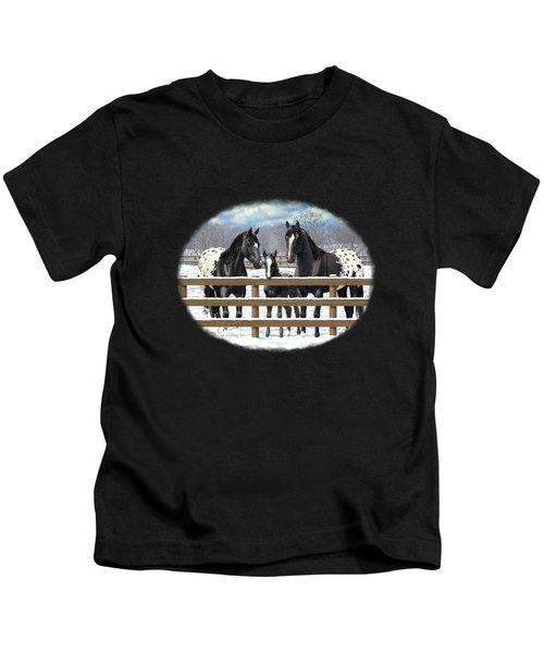Black Appaloosa Horses In Snow Kids T-Shirt