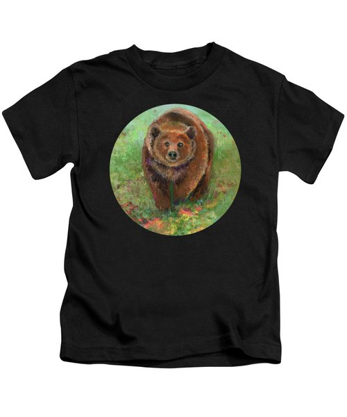 Grizzly In The Meadow Kids T-Shirt