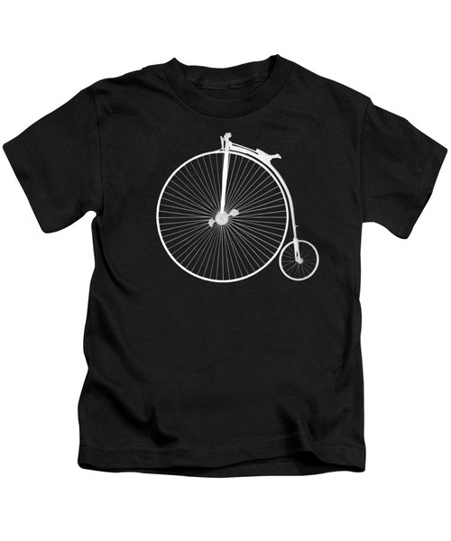 Penny Farthing White On Black Kids T-Shirt