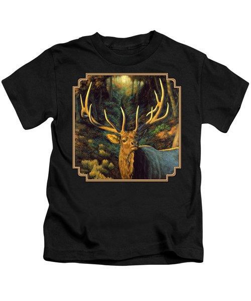 Elk Painting - Autumn Majesty Kids T-Shirt