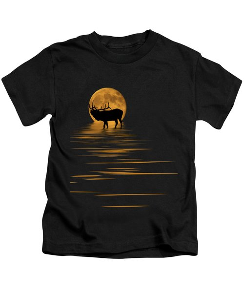 Elk In The Moonlight Kids T-Shirt by Shane Bechler