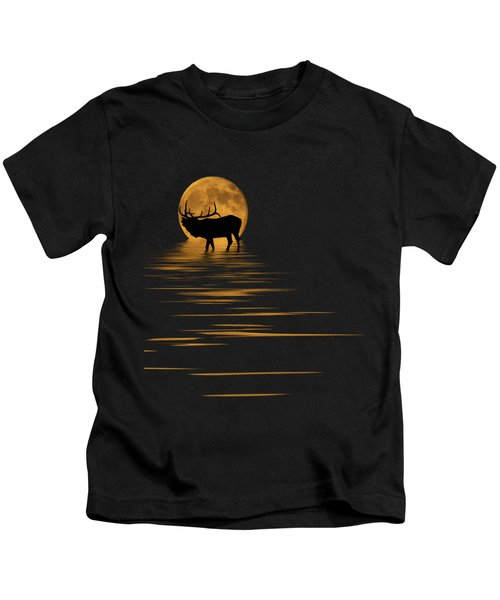 Elk In The Moonlight Kids T-Shirt